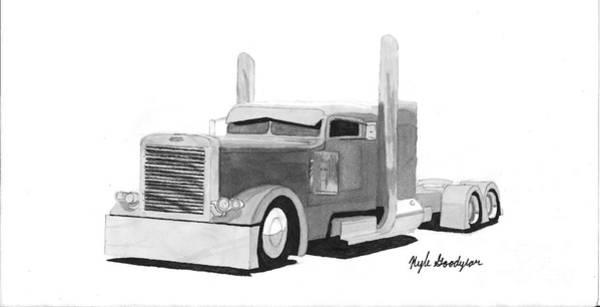 Semi Truck Drawing - Peterbilt Semi Truck by Kyle Goodyear
