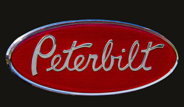 Writing Wall Art - Photograph - Peterbilt Semi Truck Emblem by Nick Gray