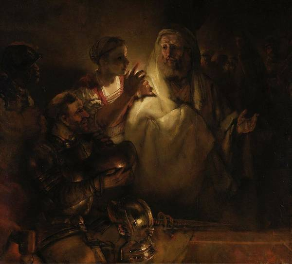 Denial Painting - Peter's Denial by Rembrandt van Rijn