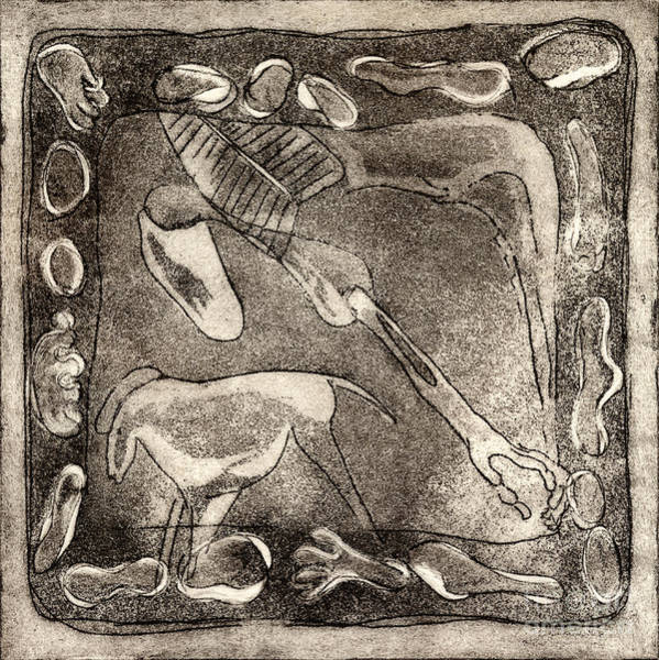Genie Painting - Petroglyph - Horse Takhi And Stones - Prehistoric Art - Cave Art - Rock Art - Cave Painters by Urft Valley Art