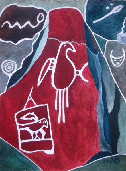 Painting - Petroglyph Parrot by Vera  Smith