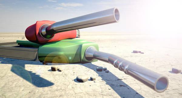 Wall Art - Digital Art - Petrol Nozzles In The Desert by Allan Swart
