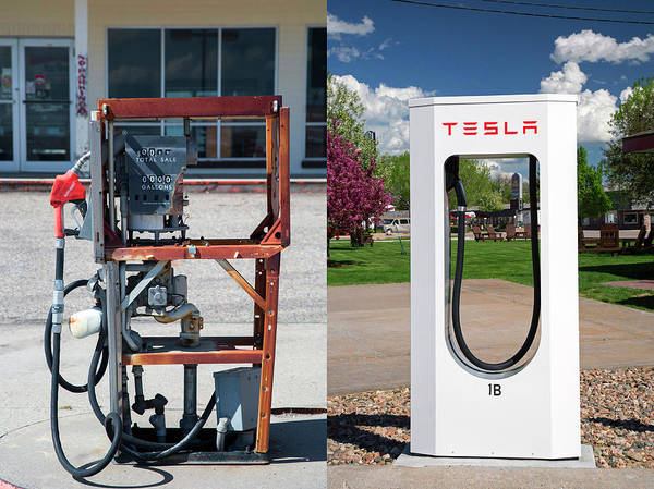 Wall Art - Photograph - Petrol Pump And Electric Charging Point by Jim West