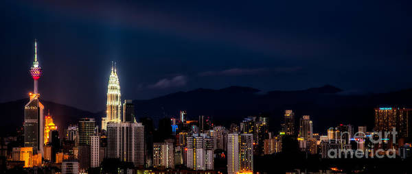 Twin Cities Photograph - Petronas Lights by Adrian Evans