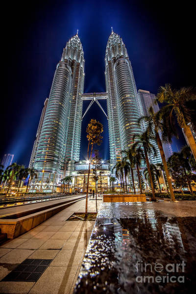 Pavement Wall Art - Photograph - Petronas Twin Towers by Adrian Evans