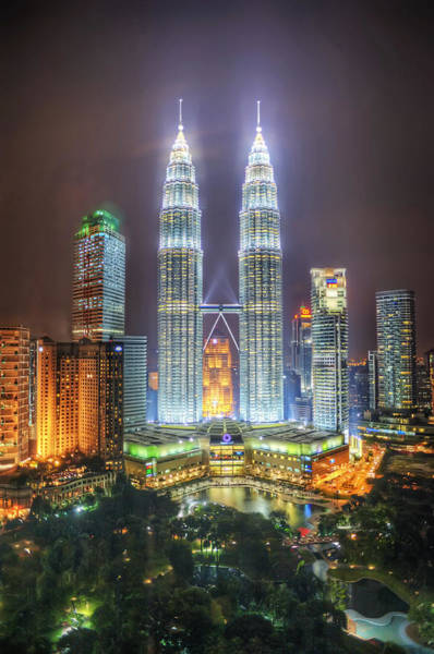 Petronas Twin Towers And Klcc Park At Night Art Print by Daniel Chui