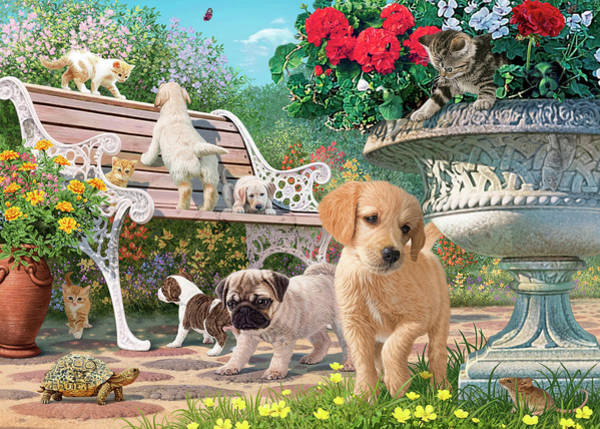 Wall Art - Painting - Pets' Hide And Seek by MGL Meiklejohn Graphics Licensing