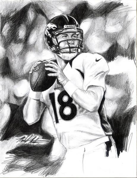 Super Bowl Drawing - Peyton Manning by Michael Mestas