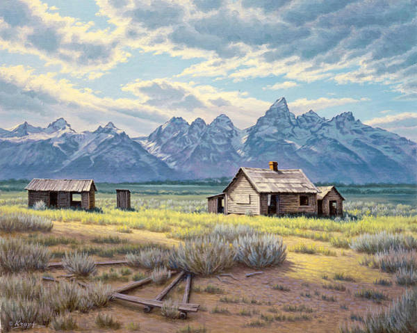 House Mountain Wall Art - Painting - Pfeiffer Homestead-tetons by Paul Krapf