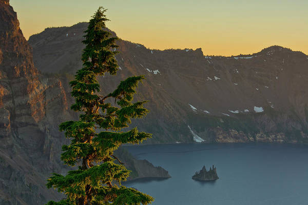 Crater Lake National Park Photograph - Phantom Ship And Crater Lake At Sunset by Michel Hersen