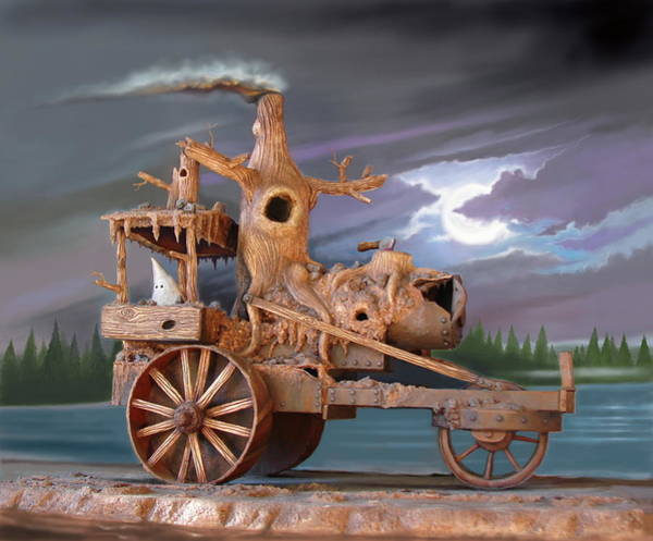 Dioramas Digital Art - Phantom Steam Tractor by Stuart Swartz