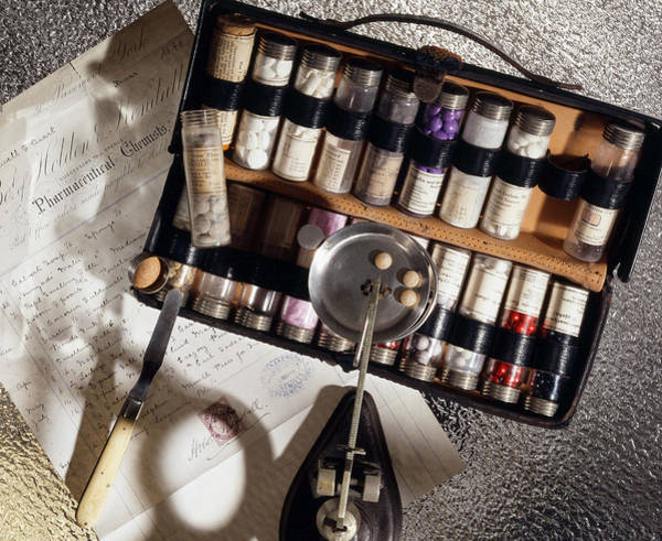 Cursive Photograph - Pharmaceutical Case, Historical Medicine by Brooks/brown