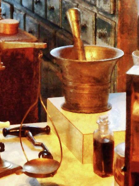 Photograph - Pharmacist - Brass Mortar And Pestle by Susan Savad