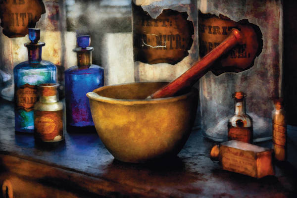 Flask Wall Art - Photograph - Pharmacist - Mortar And Pestle by Mike Savad