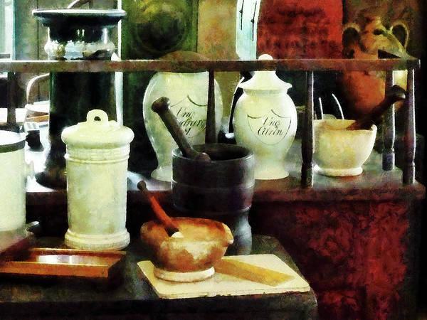 Photograph - Pharmacist - Mortar Pestles And White Jars by Susan Savad