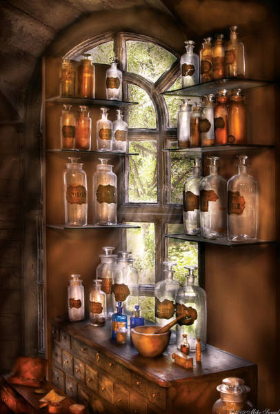 Shelves Photograph - Pharmacist - Various Potions by Mike Savad