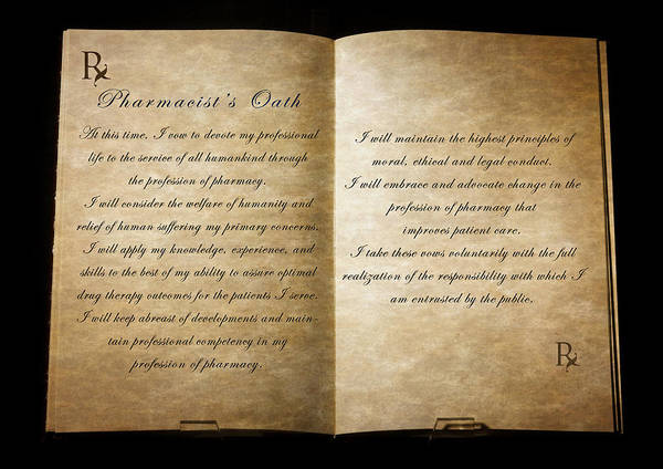 Vows Photograph - Pharmacist's Oath by Cecil Fuselier