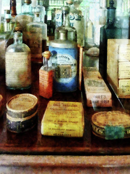 Photograph - Pharmacy - Cough Remedies And Tooth Powder by Susan Savad