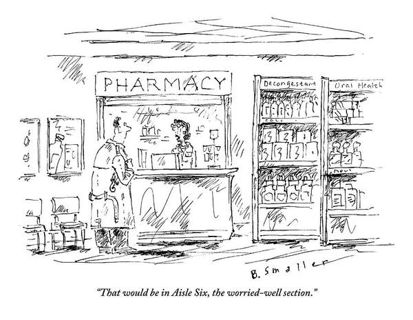 Cats Drawing - Pharmacy Helps Worrywart With Cat by Barbara Smaller