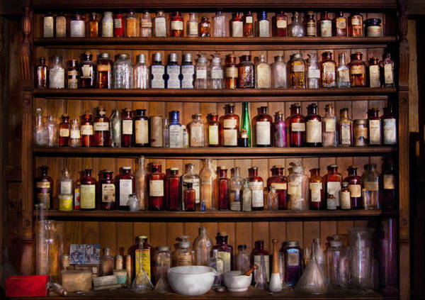 Shelves Photograph - Pharmacy - Pharma-palooza  by Mike Savad