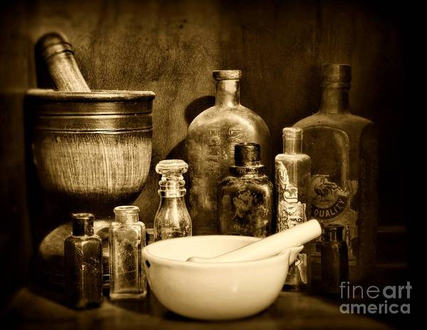 Ward Photograph - Pharmacy - Tools Of The Pharmacist - Black And White by Paul Ward