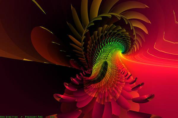 Digital Art - Pheasant Fire  by Ann Stretton