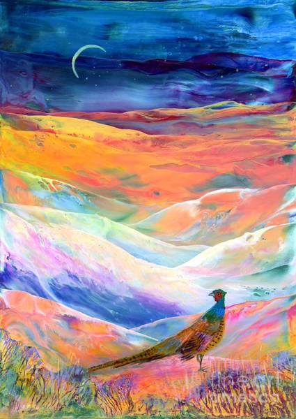 Wall Art - Painting - Pheasant Moon by Jane Small