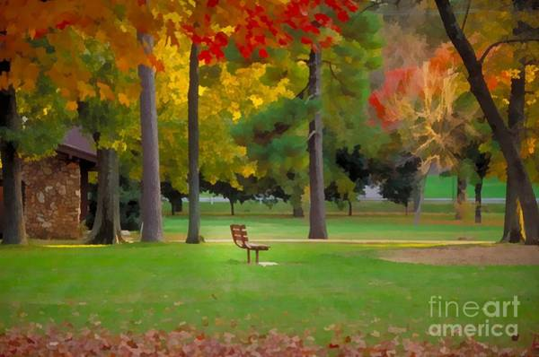 Park Bench Mixed Media - Phelps Grove Park by JS Stewart