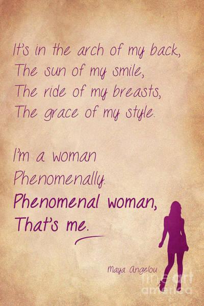 Feminist Digital Art - Phenomenal Woman Quotes 3 by Nishanth Gopinathan
