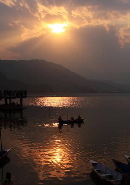 Photograph - Phewa Lake Sunset - Nepal  by Aidan Moran