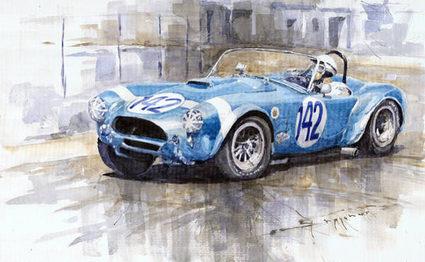 Car Painting - Phil Hill Ac Cobra-ford Targa Florio 1964 by Yuriy Shevchuk