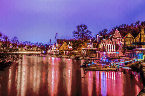 Photograph - Philadelphia - Boathouse Row At Night Time by Bill Cannon