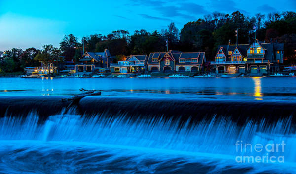 Work Boat Photograph - Philadelphia Boathouse Row At Sunset by Gary Whitton