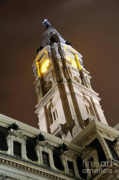 Philadelphia City Hall Clock Tower At Night Art Print