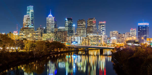 Photograph - Philadelphia Cityscape Panorama By Night by Mihai Andritoiu