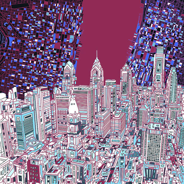 Philly Digital Art - Philadelphia Map Panorama 2 by Bekim Art
