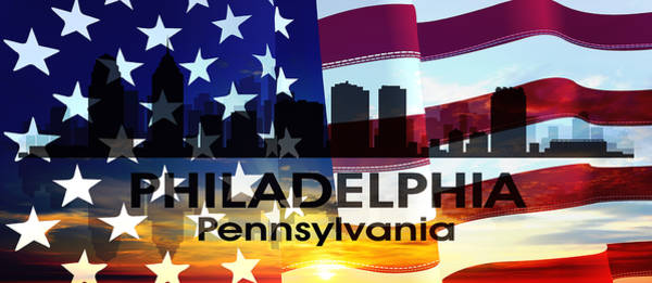 Mixed Media - Philadelphia Pa Patriotic Large Cityscape by Angelina Tamez