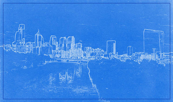 Painting - Philadelphia Skyline Blueprint by Celestial Images