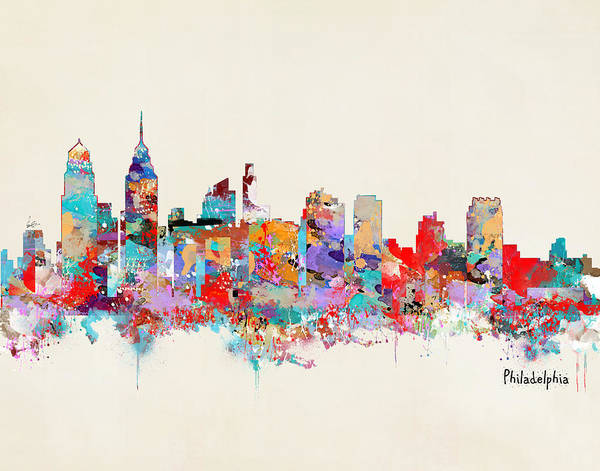 Philadelphia Cityscape Wall Art - Painting - Philadelphia Skyline by Bri Buckley