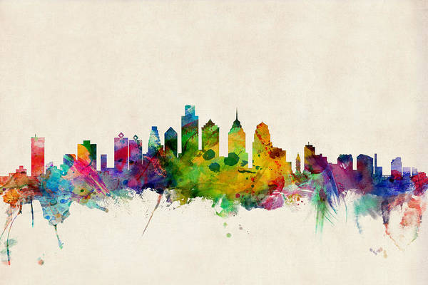 Watercolours Wall Art - Digital Art - Philadelphia Skyline by Michael Tompsett