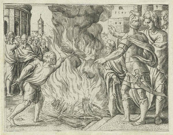 Bystander Drawing - Philistines Burned Samsons Wife And Father by Cornelis Massijs