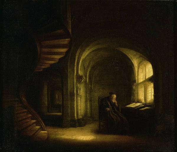 Painting - Philosopher With An Open Book by Celestial Images