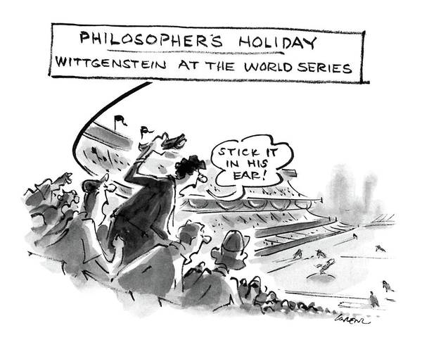 Philosopher Wall Art - Drawing - Philosopher's Holiday Wittgenstein At The World by Lee Lorenz