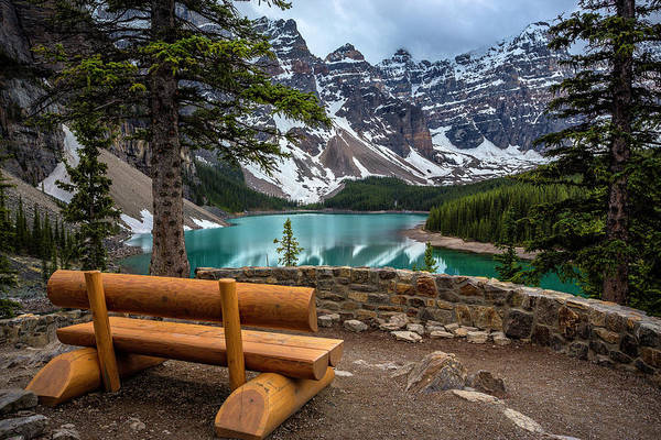 Moraine Lake Photograph - Phils Bench by Gemma