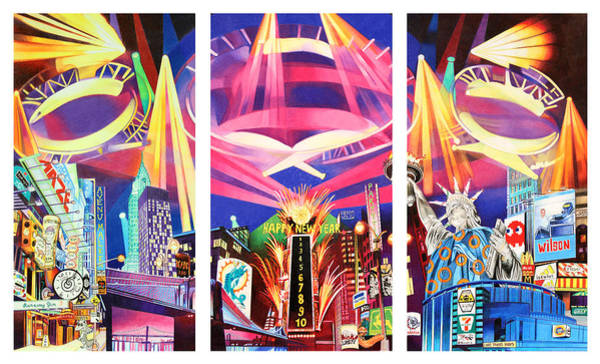 Time Square Wall Art - Drawing - Phish New York For New Years Triptych by Joshua Morton
