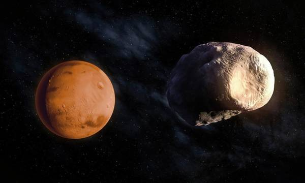 Martian Wall Art - Photograph - Phobos And Mars by Andrzej Wojcicki/science Photo Library