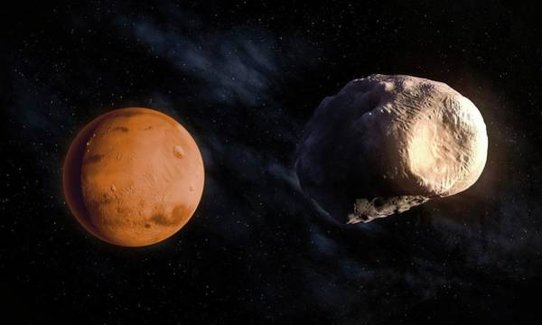 Dark Shadows Digital Art - Phobos And Mars, Artwork by Andrzej Wojcicki