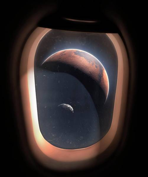 View Through Window Photograph - Phobos And Mars From Orbit by Mark Garlick/science Photo Library