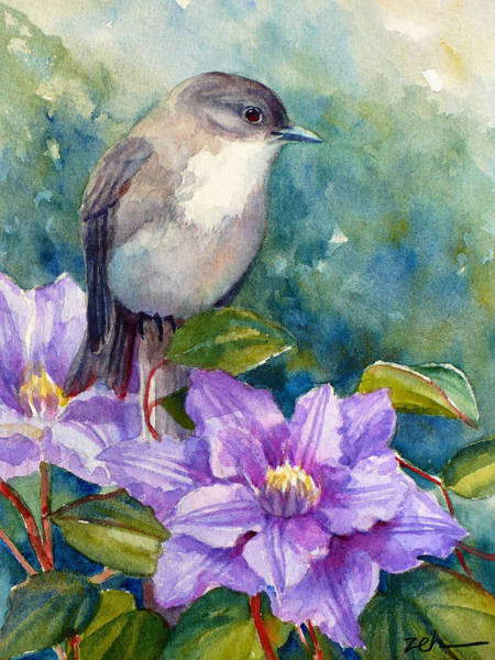 Phoebe And Clematis Art Print