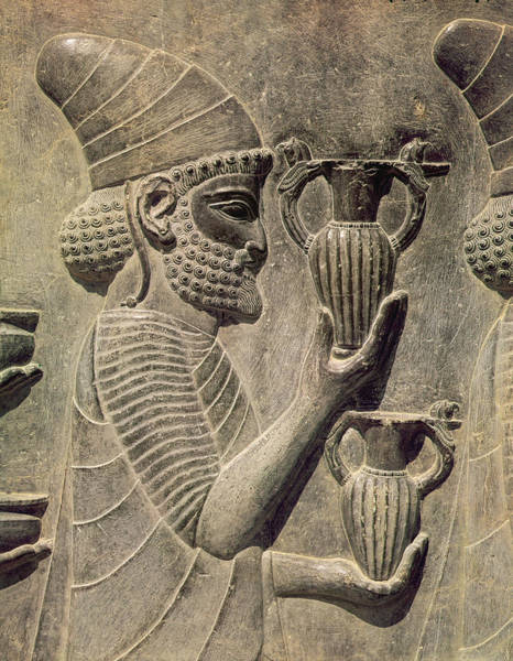 Procession Photograph - Phoenician Carrying Two Vases As An Offering, Detail Of The Relief Frieze On The East Stairway by Achaemenid